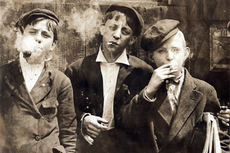 Newsies smoking.